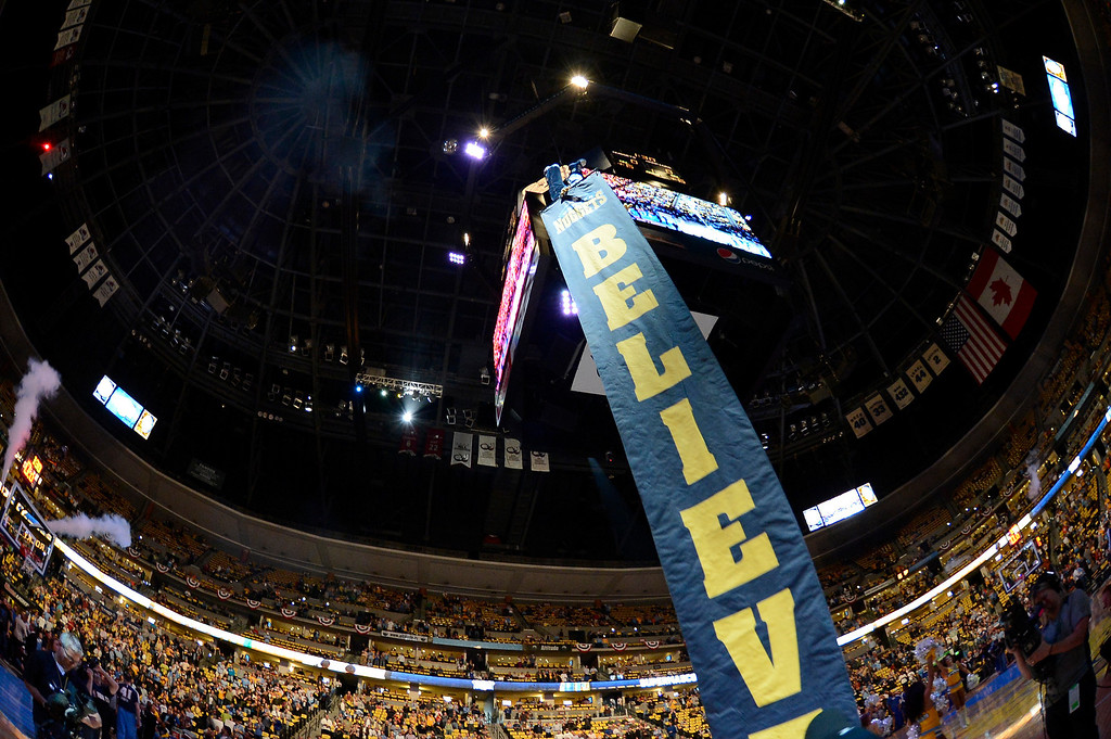 . Nuggets mascot Rocky, descends from the scoreboard before the start of the game. The Denver Nuggets took on the Golden State Warriors in Game 5 of the Western Conference First Round Series at the Pepsi Center in Denver, Colo. on April 30, 2013. (Photo by John Leyba/The Denver Post)
