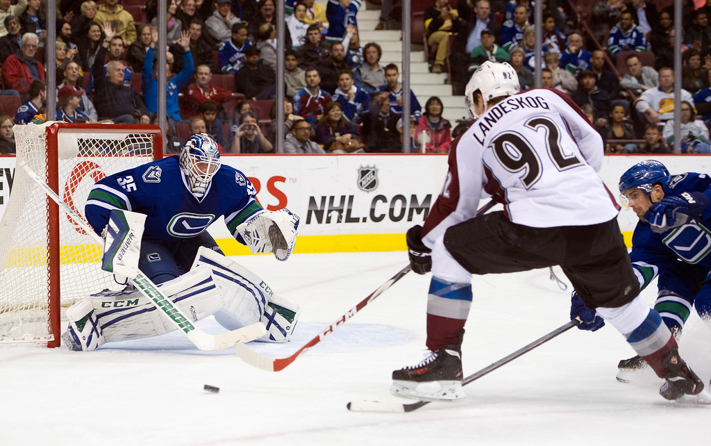 . Gabriel Landeskog #92 of the Colorado Avalanche fires a shot on goalie Jacob Markstrom #35 of the Vancouver Canucks during the third period in NHL action on April 10, 2014 at Rogers Arena in Vancouver, British Columbia, Canada. Dan Hamhuis #2 of the Vancouver Canucks tries to help defend on the play.  (Photo by Rich Lam/Getty Images)