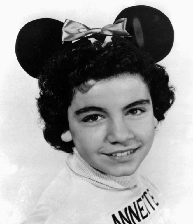 ". FILE - A 1955 file photo of Annette Funicello, a ""Mouseketeer\"" on Walt Disney\'s TV series the \""Mickey Mouse Club.\""  Funicello: The original superstar Mouseketeer, she was the picture of wholesome adorableness during the show\'s primary run in the 1950s, and she\'s maintained that sunny persona throughout her life.  She went on to star in several Disney pictures, including \""The Shaggy Dog\"" and \""Babes in Toyland.\"" But she most famously appeared alongside Frankie Avalon in all those beach movies of the early 1960s, along with recording several top-40 pop singles.  (AP Photo/ho, File)"