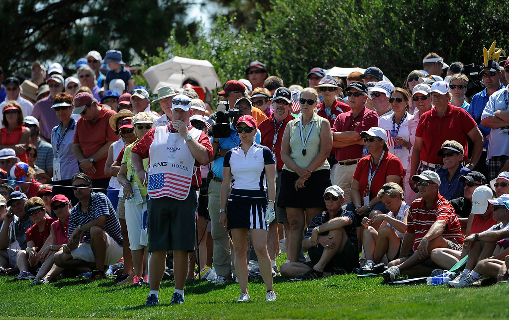 . PARKER, CO - Aug.17: Team USA\'s Morgan Pressel checks out her play to the 16th green. The 2013 Solheim Cup takes place at the Colorado Golf Club with the USA taking on Europe in the Saturday morning Foursomes Match. (Photo By Kathryn Scott Osler/The Denver Post)