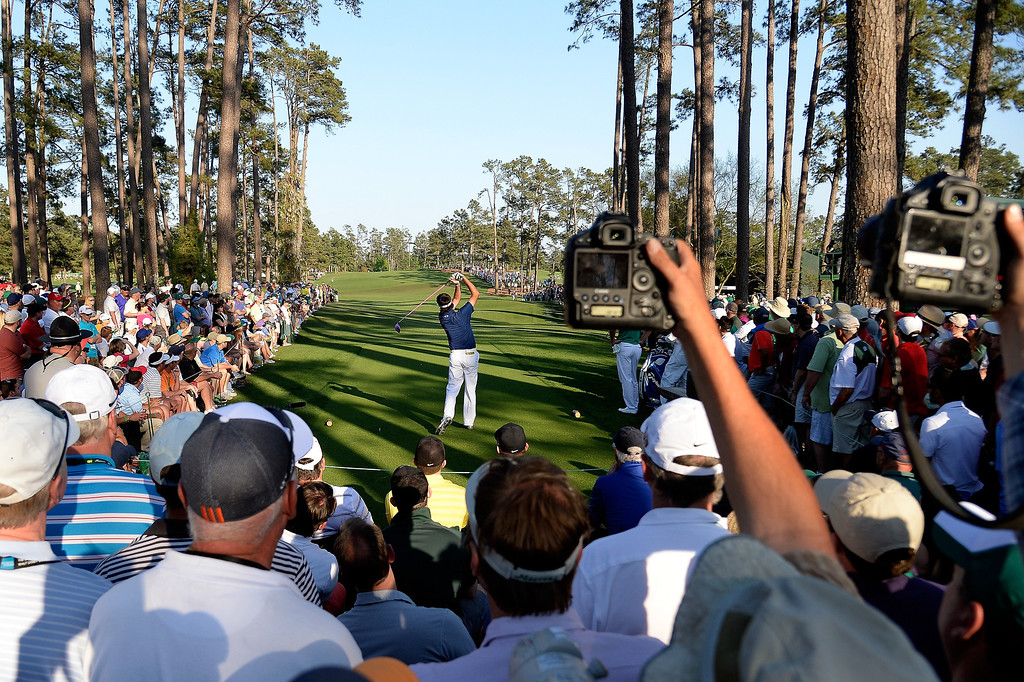 . Bubba Watson of the United States hits his tee shot on the 17th hole  during the third round of the 2014 Masters Tournament at Augusta National Golf Club on April 12, 2014 in Augusta, Georgia.  (Photo by Harry How/Getty Images)