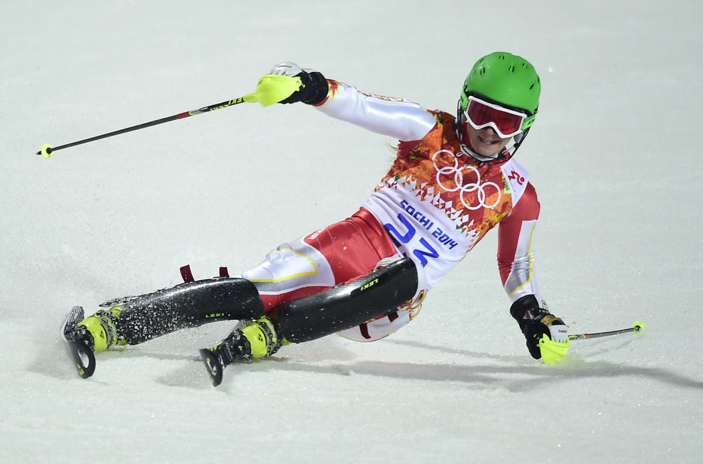 . Canada\'s Brittany Phelan finishes the Women\'s Alpine Skiing Slalom Run 2 at the Rosa Khutor Alpine Center during the Sochi Winter Olympics on February 21, 2014.        AFP PHOTO / OLIVIER MORIN/AFP/Getty Images