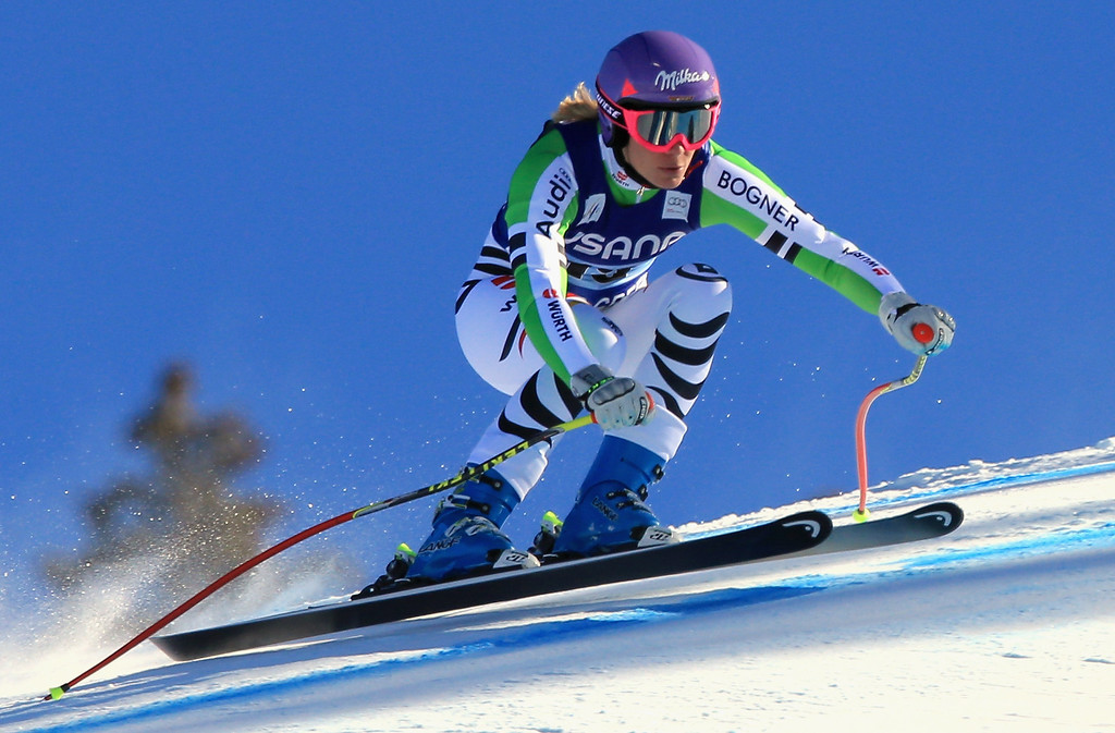 . Maria Hoefl-Riesch of Germany races in the ladies\' Super G on Raptor at the Audi FIS Ski World Cup at Beaver Creek on November 30, 2013 in Beaver Creek, Colorado.  (Photo by Doug Pensinger/Getty Images)