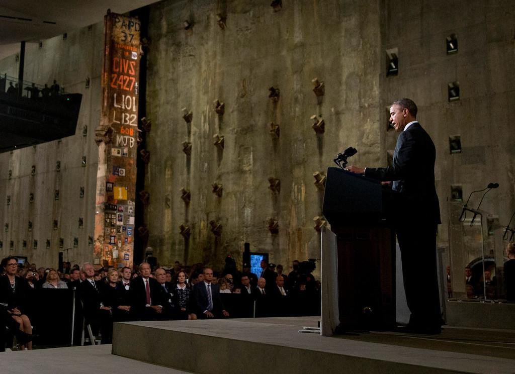 . President Barack Obama speaks at the National September 11 Memorial Museum, Thursday, May 15, 2014, in New York.  (AP Photo/Carolyn Kaster)