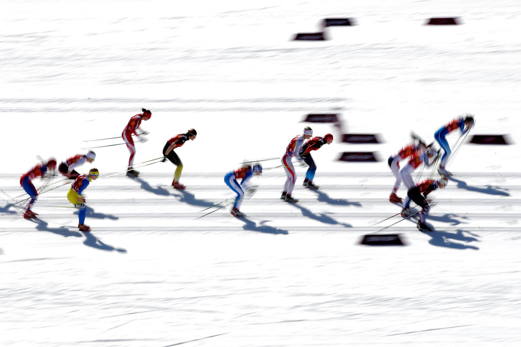. SOCHI, RUSSIA - FEBRUARY 15:  Athletes start the Women\'s 4 x 5 km Relay during day eight of the Sochi 2014 Winter Olympics at Laura Cross-country Ski & Biathlon Center on February 15, 2014 in Sochi, Russia.  (Photo by Adam Pretty/Getty Images)