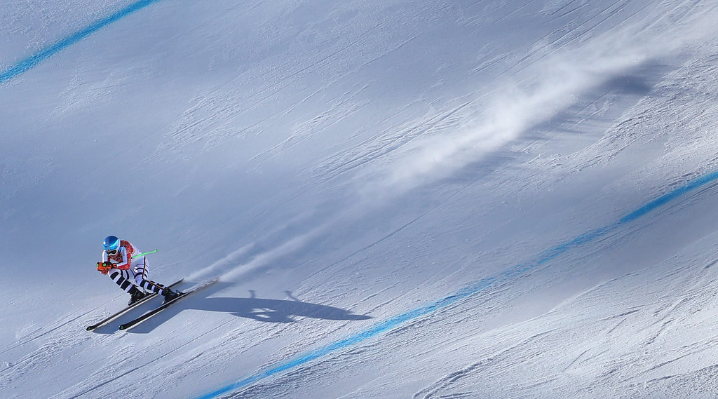 . Viktoria Rebensburg of Germany in action during the Women\'s Downhill race at the Rosa Khutor Alpine Center during the Sochi 2014 Olympic Games, Krasnaya Polyana, Russia, 12 February 2014.  EPA/KARL-JOSEF HILDENBRAND
