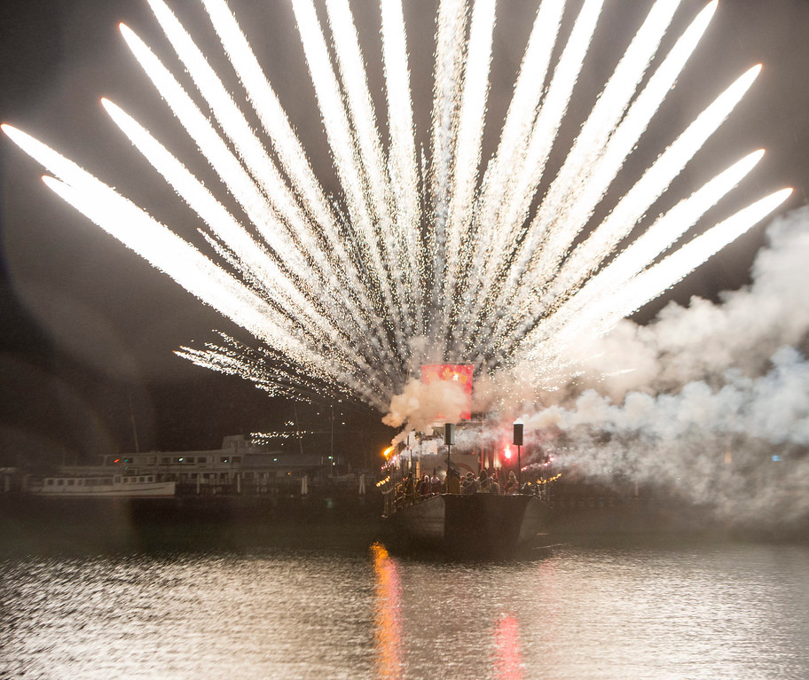 . Fireworks explode into the sky above Lake Lucerne marking the start of the Carnival, in Lucerne, Switzerland,  early morning 27 February 2014.  EPA/SIGI TISCHLER