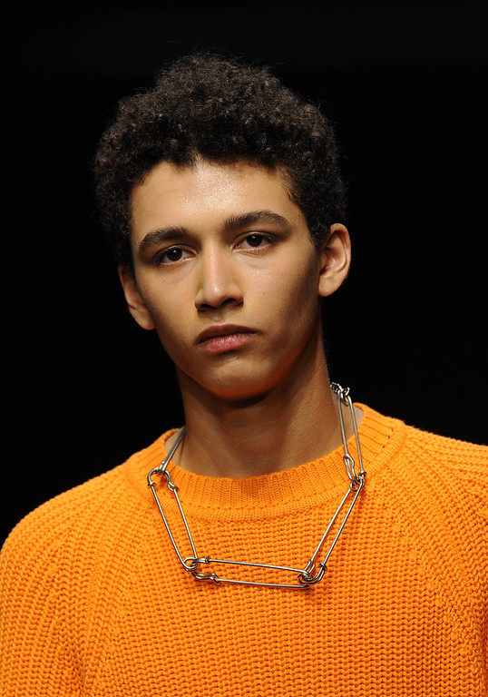 . A model walks the runway at the Christopher Shannon show during The London Collections: Men Autumn/Winter 2014 on January 8, 2014 in London, England. (Photo by Stuart C. Wilson/Getty Images)