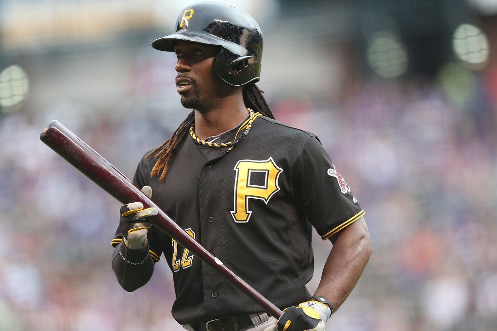 . Pittsburgh Pirates\' Andrew McCutchen reacts after avoiding an inside pitch by the Colorado Rockies in the first inning of a baseball game in Denver on Saturday, July 26, 2014. (AP Photo/David Zalubowski)