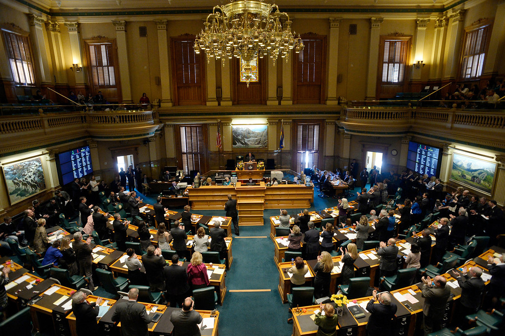 . DENVER, CO. - JANUARY 08: House Speaker Mark Ferrandino address the crowd during the first day of the new legislative session at the Colorado Capitol in Denver, CO January 08, 2014.  (Photo By Craig F. Walker / The Denver Post)