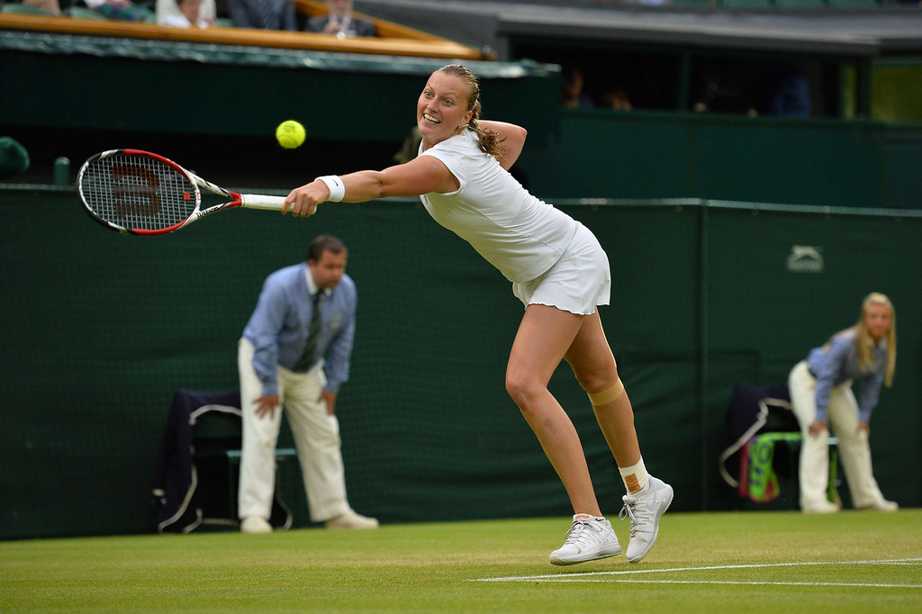 . Czech Republic\'s Petra Kvitova returns against Belgium\'s Kirsten Flipkens during their women\'s singles quarter-final match on day eight of the 2013 Wimbledon Championships tennis tournament at the All England Club in Wimbledon, southwest London, on July 2, 2013. BEN STANSALL/AFP/Getty Images