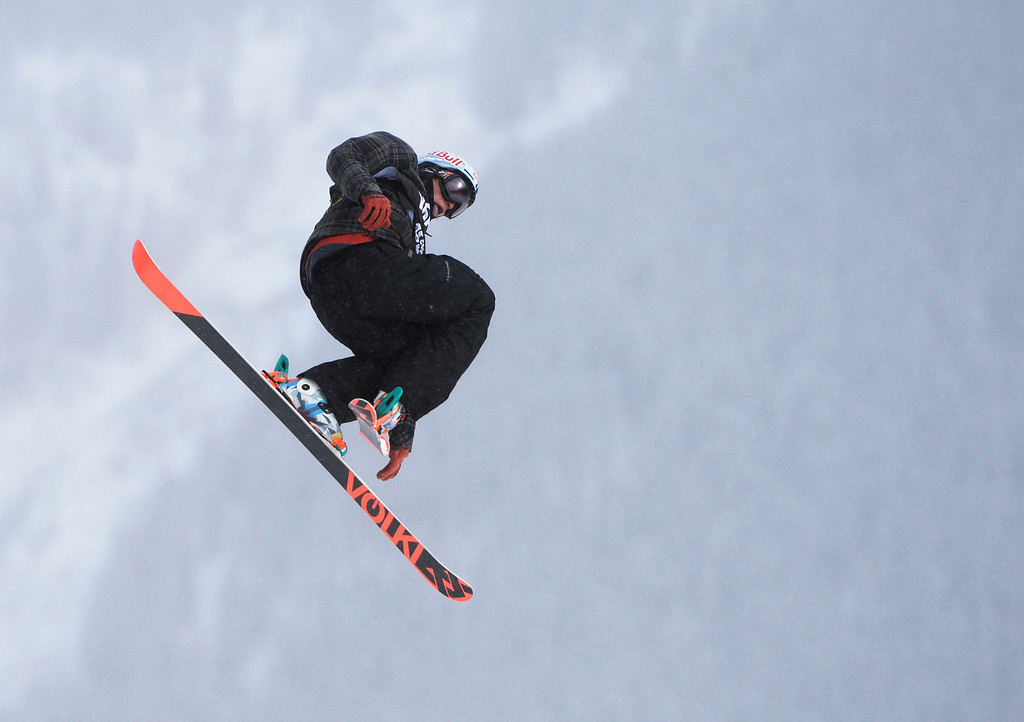 . Nicholas Goepper, USA, launches of the third jump during his first run of the U.S. Grand Prix slope style finals at the Copper Mountain ski area Saturday afternoon, December 21, 2013. Goepper took second in the competition. (Photo By Andy Cross / The Denver Post)