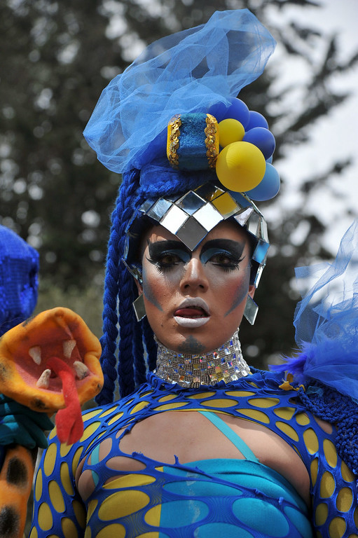 . A reveler takes part in the Gay Pride Parade in Bogota, Colombia on June 29, 2014. AFP PHOTO/Guillermo   GUILLERMO LEGARIA/AFP/Getty Images