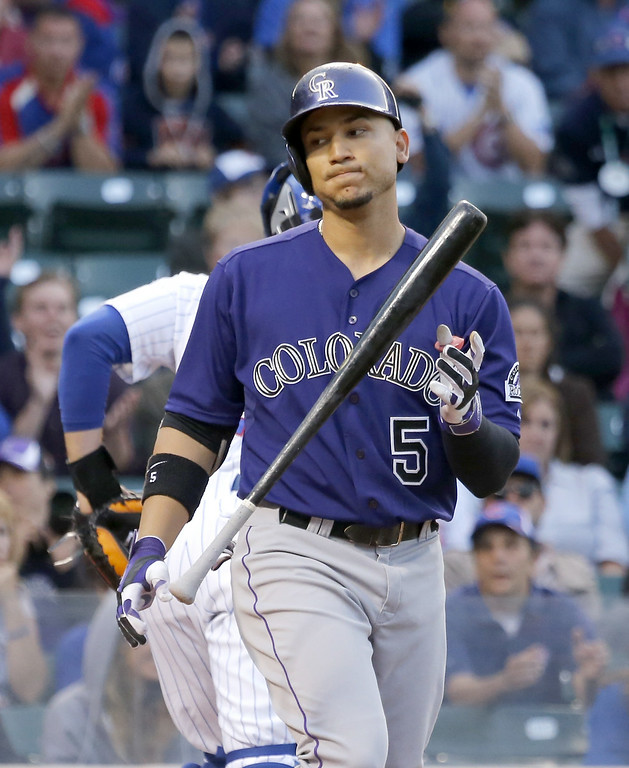 . Colorado Rockies\' Carlos Gonzalez flips his bat after striking out on a pitch from Chicago Cubs\' Tsuyoshi Wada during the first inning of a baseball game Monday, July 28, 2014, in Chicago. (AP Photo/Charles Rex Arbogast)