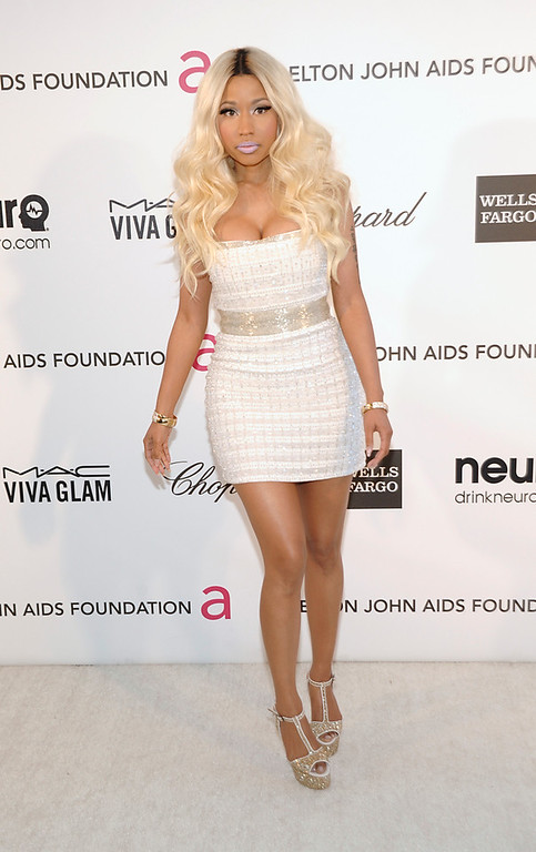 . Singer Nicki Minaj arrives at the 2013 Elton John Oscar Party in West Hollywood, Calif. on Sunday, Feb. 24, 2013. (Dan Steinberg/Invision/AP)