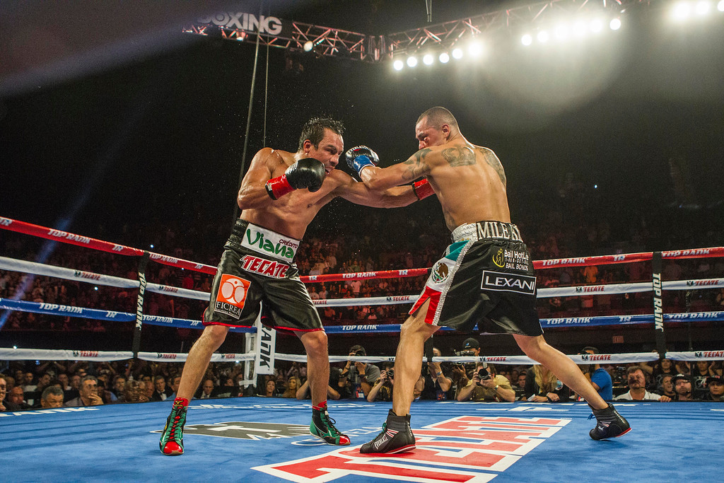 . Mike Alvarado, right, and Juan Manuel Márquez, of Mexico, exchange punches in the nineth round of a WBO welterweight title boxing match at the Forum in Inglewood, Calif., Saturday, May 17, 2014. Márquez won the title.  (AP Photo/Ringo H.W. Chiu)
