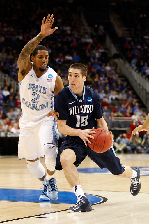 . KANSAS CITY, MO - MARCH 22: Ryan Arcidiacono #15 of the Villanova Wildcats drives against Leslie McDonald #2 of the North Carolina Tar Heels in the first half during the second round of the 2013 NCAA Men\'s Basketball Tournament at the Sprint Center on March 22, 2013 in Kansas City, Missouri.  (Photo by Ed Zurga/Getty Images)