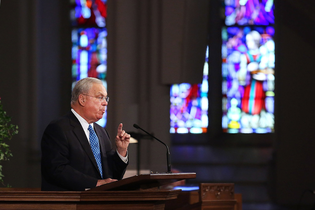 """. Boston Mayor Thomas Menino speaks at an interfaith prayer service for victims of the Boston Marathon attack titled \""""Healing Our City,\"""" at the Cathedral of the Holy Cross on April 18, 2013 in Boston, Massachusetts.  (Photo by Spencer Platt/Getty Images)"""
