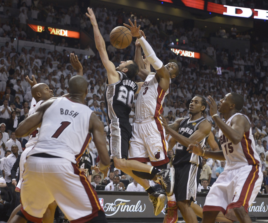 . Ray Allen (R) of the Miami Heat blocks Manu Ginobili (C) of the San Antonio Spurs during overtime in Game 6 of the NBA Finals at the American Airlines Arena June 19, 2013 in Miami, Florida. Miami defeated San Antonio 103-100 in overtime to even the best-of-seven championship series 3-3.      BRENDAN SMIALOWSKI/AFP/Getty Images