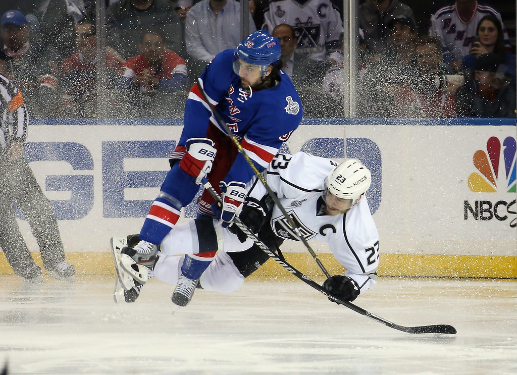 . Mats Zuccarello #36 of the New York Rangers and Dustin Brown #23 of the Los Angeles Kings collide during the second period of Game Four of the 2014 NHL Stanley Cup Final at Madison Square Garden on June 11, 2014 in New York, New York.  (Photo by Bruce Bennett/Getty Images)