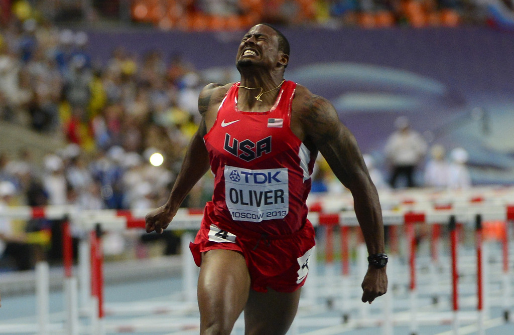 . US\'s David Oliver wins the men\'s 110 meters hurdles final at the 2013 IAAF World Championships at the Luzhniki stadium in Moscow on August 12, 2013. AFP PHOTO / OLIVIER MORIN/AFP/Getty Images