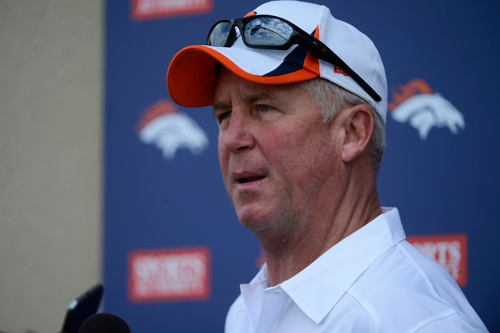 . ENGLEWOOD, CO - JULY 27: Denver Broncos head coach, John Fox during a press conference after training camp at Dove Valley Saturday July 26, 2013.  (Photo By Andy Cross/The Denver Post)
