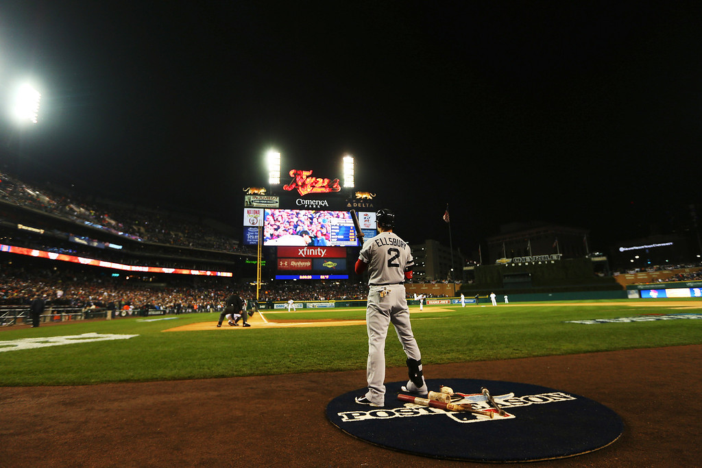 . Jacoby Ellsbury #2 of the Boston Red Sox stands on deck in the first inning of Game Five of the American League Championship Series against the Detroit Tigers at Comerica Park on October 17, 2013 in Detroit, Michigan.  (Photo by Mike Ehrmann/Getty Images)