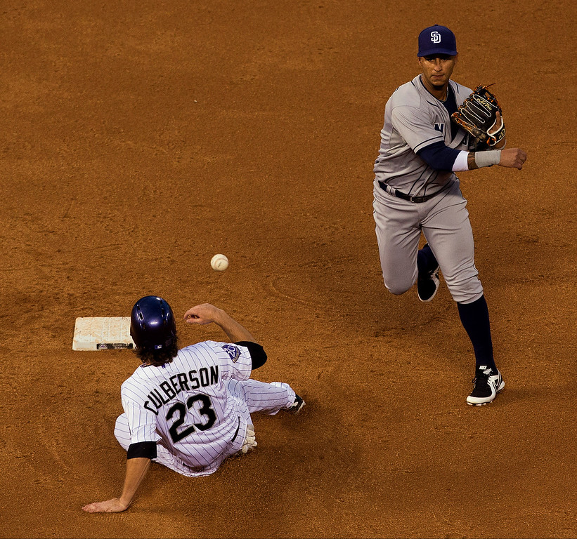 . Shortstop Ronny Cedeno #3 of the San Diego Padres throws to first base to complete the double play as Charlie Culberson #23 of the Colorado Rockies slides in late to end the third inning at Coors Field on August 13, 2013 in Denver, Colorado.  The Padres defeated the Rockies 7-5.  (Photo by Justin Edmonds/Getty Images)