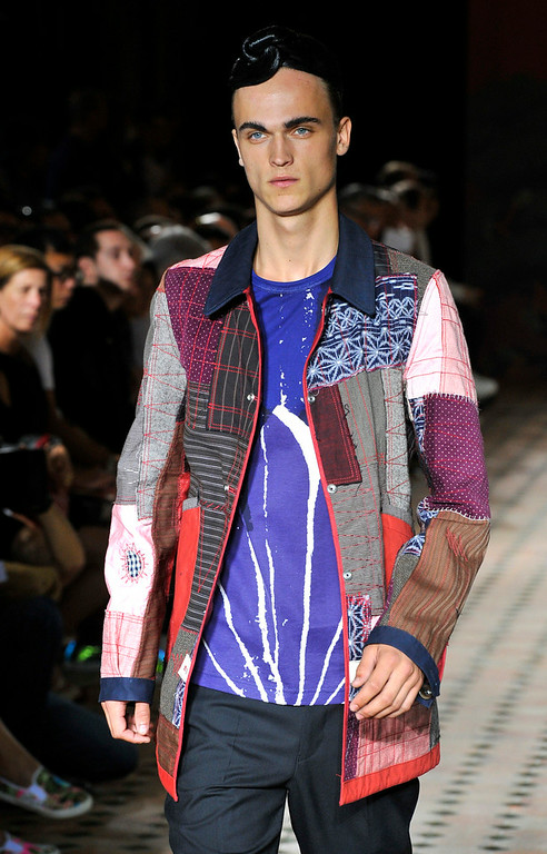 . A model wears a creation for Junya Watanabe men\'s spring-summer 2015 fashion collection presented in Paris, France, Friday, June 27, 2014. (AP Photo/Zacharie Scheurer)