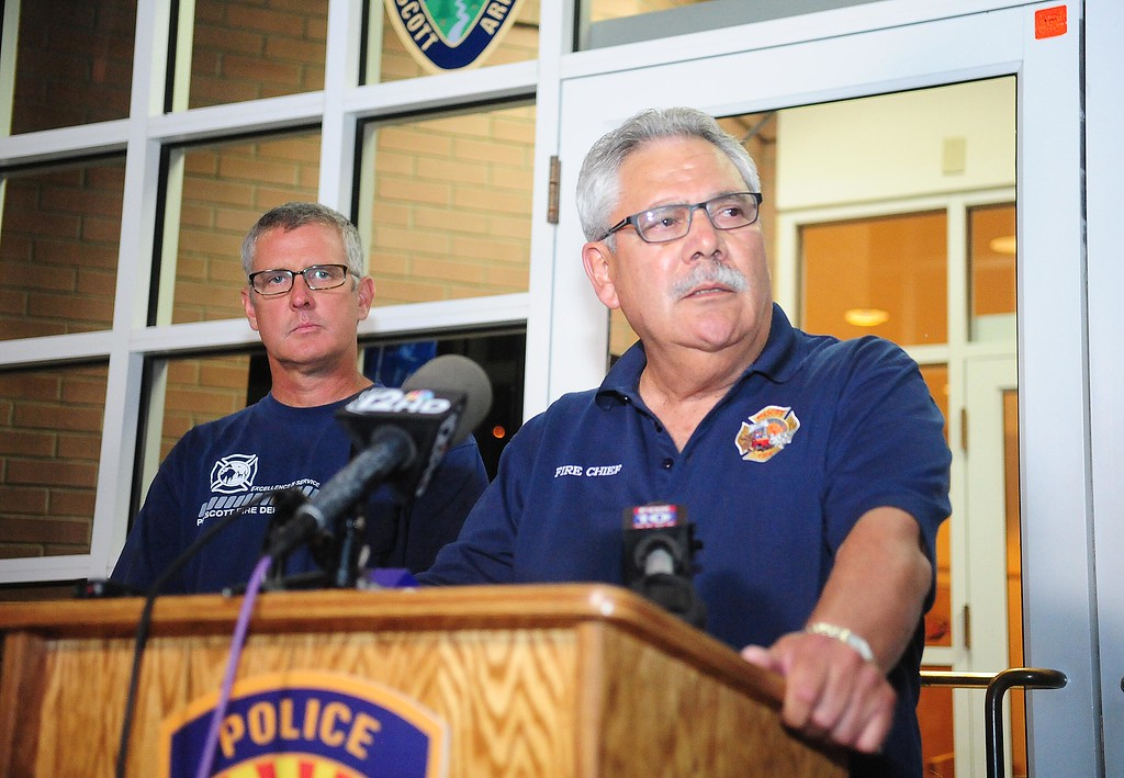 . Prescott, Ariz. Fire Chief Dan Fraijo gives a news conference in Prescott, Ariz., confirming that 19 members of the City of Prescott\'s Granite Mountain Hotshot team died while fighting the Yarnell Hill Fire, Sunday, June 30, 2013. (AP Photo/The Daily Courier, Les Stukenberg)