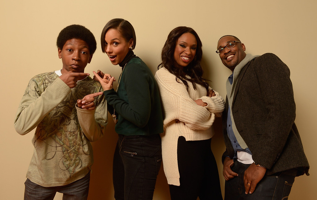 . (L-R) Actor Skylan Brooks, producer and musician Alicia Keys, actress Jennifer Hudson and director George Tillman Jr. pose for a portrait during the 2013 Sundance Film Festival at the Getty Images Portrait Studio at Village at the Lift on January 18, 2013 in Park City, Utah.  (Photo by Larry Busacca/Getty Images)