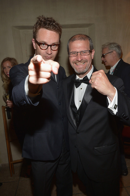 . Director Nicolas Winding Refn and writer Keith Simanton attend IMDb\'s 2014 Cannes Film Festival Dinner Party at Restaurant Mantel on May 19, 2014 in Cannes, France.  (Photo by Michael Buckner/Getty Images for IMDb)