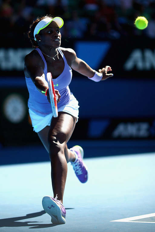 . Sloane Stephens of the United States of America plays a forehand in her Semifinal match against Victoria Azarenka of Belarus during day eleven of the 2013 Australian Open at Melbourne Park on January 24, 2013 in Melbourne, Australia.  (Photo by Ryan Pierse/Getty Images)
