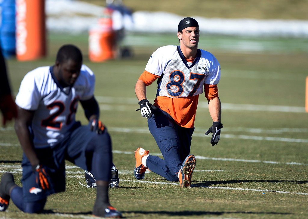 . Denver Broncos wide receiver Eric Decker (87) stretches before practice November 27, 2013 at Dove Valley (Photo by John Leyba/The Denver Post)