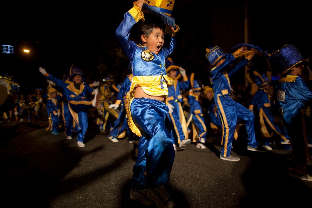 ". Members of the murga ""Los amantes de La Boca\"" perform during carnival celebrations in Buenos Aires, Argentina, Saturday, Feb. 2, 2013. (AP Photo/Natacha Pisarenko)"