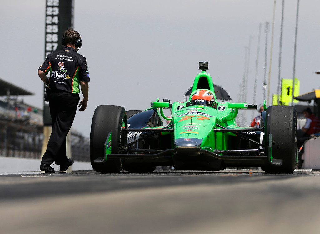 . James Hinchcliffe, of Canada, pulls out of the pit area during practice for the Indianapolis 500 auto race at the Indianapolis Motor Speedway in Indianapolis, Wednesday, May 15, 2013. (AP Photo/Darron Cummings)