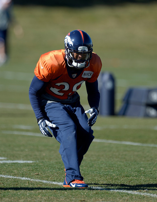 . Denver Broncos Michael Huff (29) runs through drills during practice November 20, 2013 at Dove Valley (Photo by John Leyba/The Denver Post)