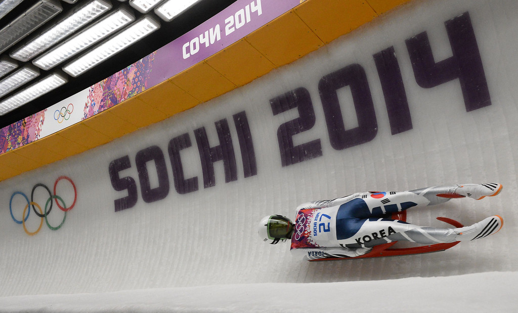 . South Korea\'s Sung Eunryung competes during the Women\'s Luge Singles run two at the Sliding Center Sanki during the Sochi Winter Olympics on February 10, 2014.   AFP PHOTO / LIONEL BONAVENTURE/AFP/Getty Images