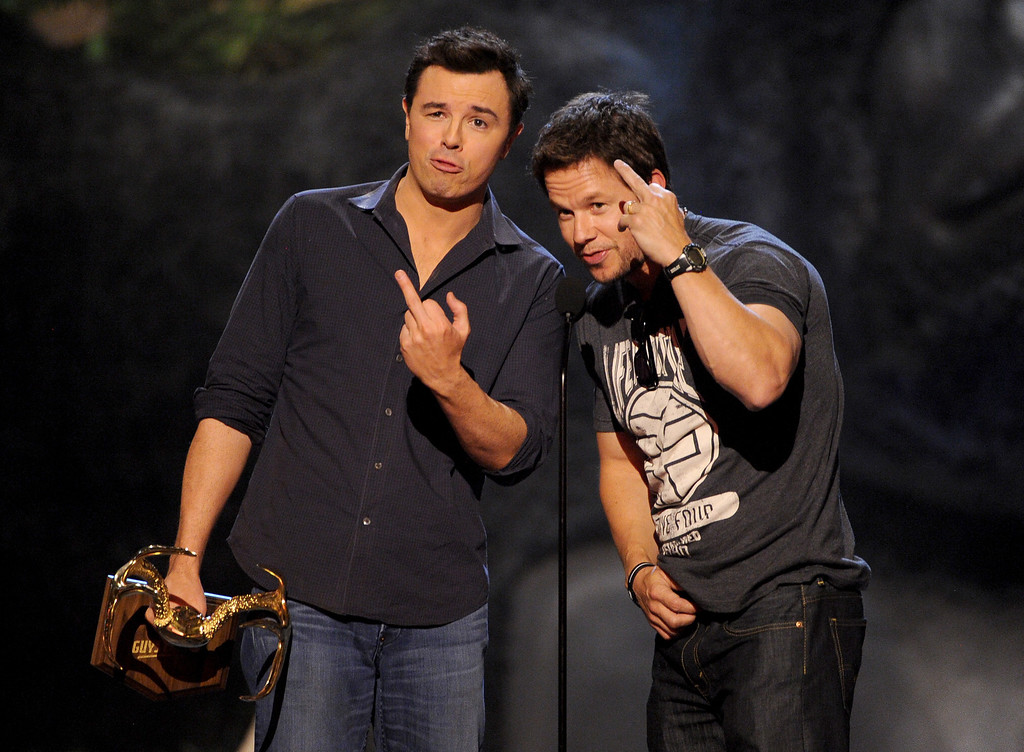 . CULVER CITY, CA - JUNE 08:  Actors Seth MacFarlane (L) and Mark Wahlberg accept award onstage during Spike TV\'s Guys Choice 2013 at Sony Pictures Studios on June 8, 2013 in Culver City, California.  (Photo by Kevin Winter/Getty Images for Spike TV)