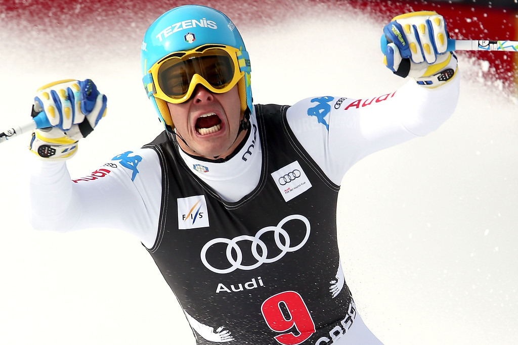 . Christof Innerhofer #9 of Italy celebrates after crossing the finish line during the men\'s downhill on the Birds of Prey at the Audi FIS World Cup on November 30, 2012 in Beaver Creek, Colorado.  (Photo by Matthew Stockman/Getty Images)