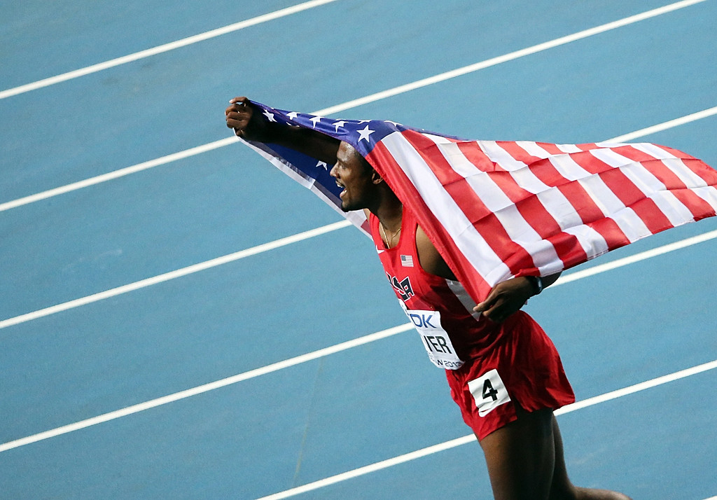 . US\'s David Oliver celebrates after winning the men\'s 110 meters hurdles final at the 2013 IAAF World Championships at the Luzhniki stadium in Moscow on August 12, 2013. AFP PHOTO / LOIC VENANCE/AFP/Getty Images