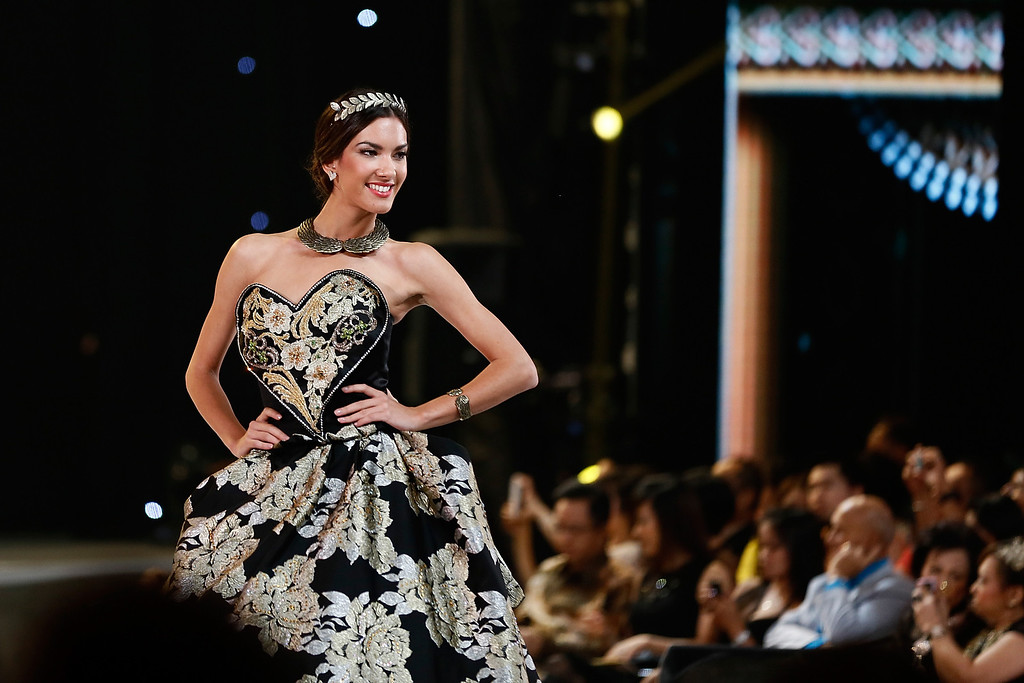 . Miss World 2013 Ivana Milojko of Montenegro poses during top model show on September 24, 2013 in Nusa Dua, Indonesia. Indonesia\'s government has moved the final round of the Miss World pageant from Jakarta to the resort island of Bali due to the ongoing Muslim protests.  (Photo by Putu Sayoga/Getty Images)