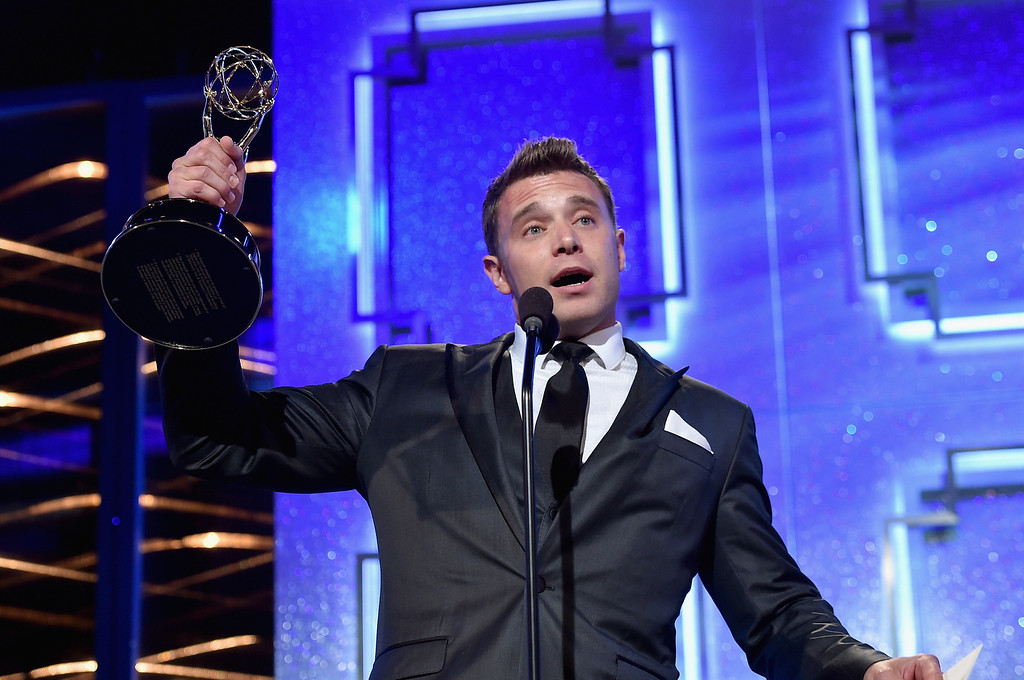 . Actor Billy Miller accepts Outstanding Lead Actor in a Drama Series for \'The Young and the Restless\' onstage during The 41st Annual Daytime Emmy Awards at The Beverly Hilton Hotel on June 22, 2014 in Beverly Hills, California.  (Photo by Alberto E. Rodriguez/Getty Images for NATAS)