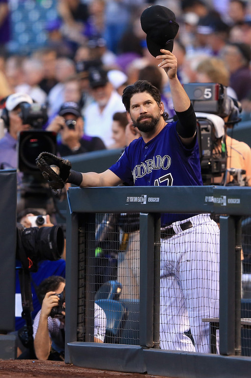 . First baseman Todd Helton #17 of the Colorado Rockies prepares to take the field against the St. Louis Cardinals at Coors Field on September 16, 2013 in Denver, Colorado.  (Photo by Doug Pensinger/Getty Images)
