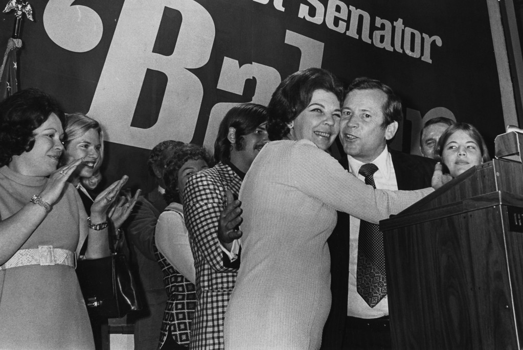 . FILE - In this Nov. 7, 1972, file photo, U. S. Sen. Howard H. Baker Jr., and his wife, Joy, celebrate his election to a second term in Knoxville, Tenn. Baker defeated U.S. Rep. Ray Blanton in a landslide. Baker died Thursday from complications from a stroke in his hometown of Huntsville, Tenn, at age 88. (AP Photo/Knoxville News Sentinel, File)