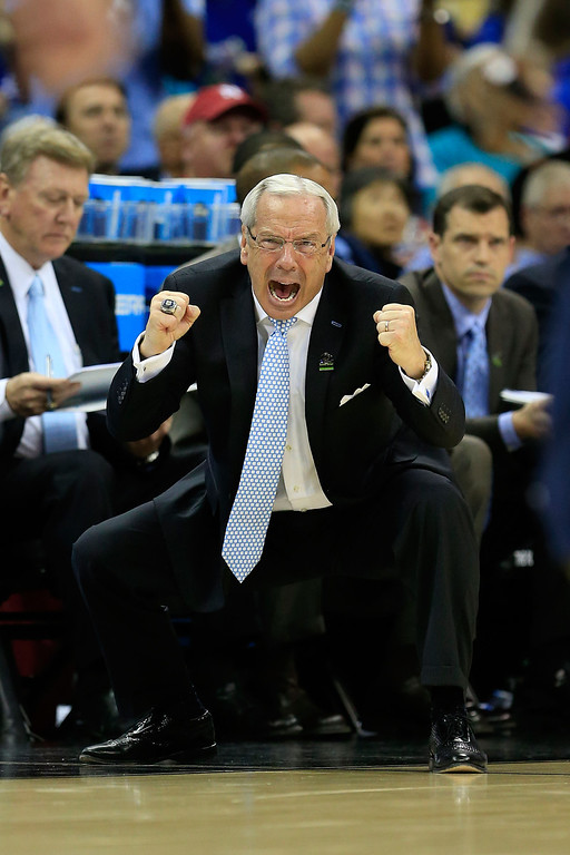 . KANSAS CITY, MO - MARCH 22:  Head coach Roy Williams of the North Carolina Tar Heels reacts in the second half against the Villanova Wildcats during the second round of the 2013 NCAA Men\'s Basketball Tournament at the Sprint Center on March 22, 2013 in Kansas City, Missouri.  (Photo by Jamie Squire/Getty Images)