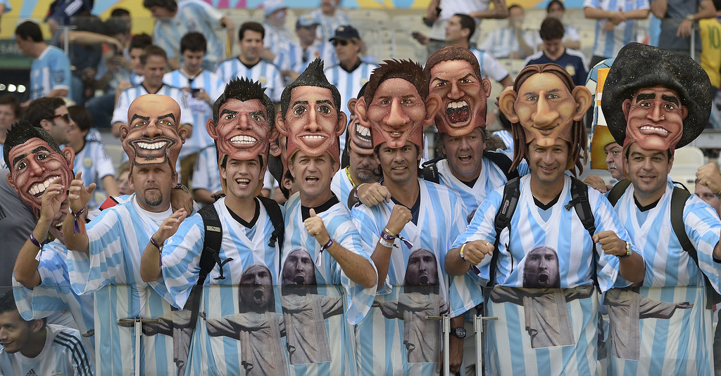 . Argentinian fans cheer prior to a Group F football match between Argentina and Iran at the Mineirao Stadium in Belo Horizonte during the 2014 FIFA World Cup in Brazil on June 21, 2014. JUAN MABROMATA/AFP/Getty Images