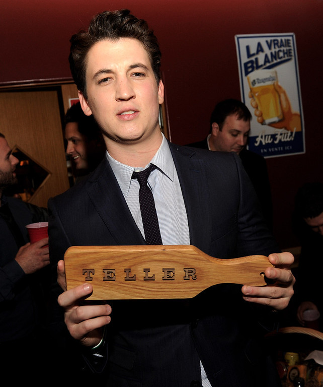 """. Actor Miles Teller poses at the after party for the premiere of Relativity Media\'s \""""21 And Over\"""" at the Westwood Brewery on February 21, 2013 in Los Angeles, California.  (Photo by Kevin Winter/Getty Images)"""