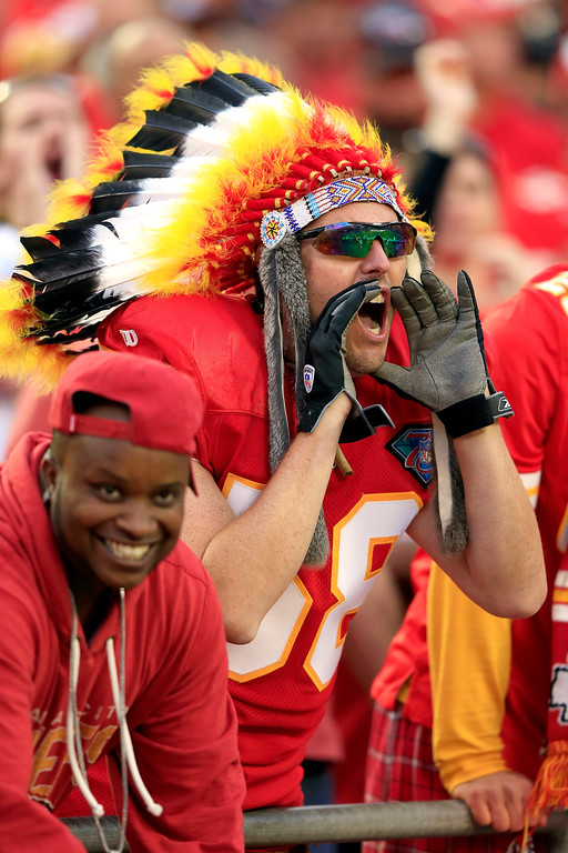 . Kansas City Chiefs fans cheer during the game against the Houston Texans at Arrowhead Stadium on October 20, 2013 in Kansas City, Missouri.  (Photo by Jamie Squire/Getty Images)