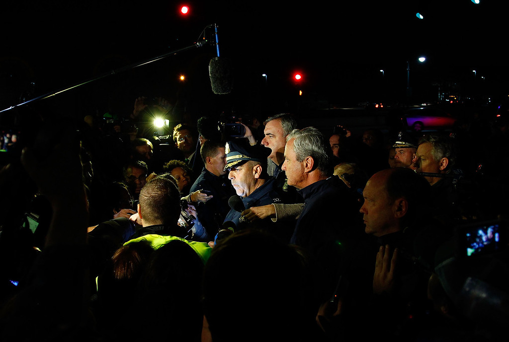 . WATERTOWN, MA - APRIL 19: Boston Police Commissioner Edward Davis speaks during a media briefing in the parking lot of the Watertown Mall on April 19, 2013 in Watertown, Massachusetts.  (Photo by Jared Wickerham/Getty Images)